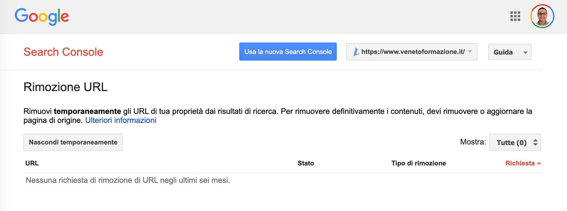 Rimozione URL
