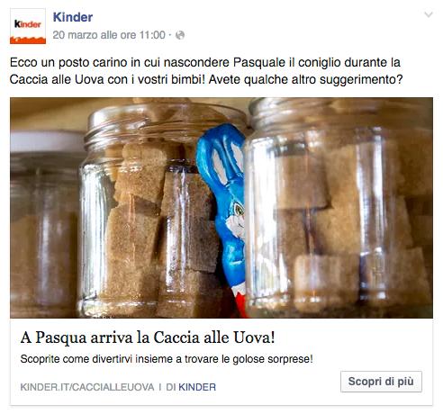 kinder Pasqua post facebook