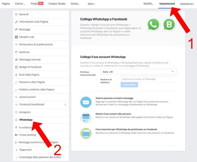 attivare whatsapp facebook
