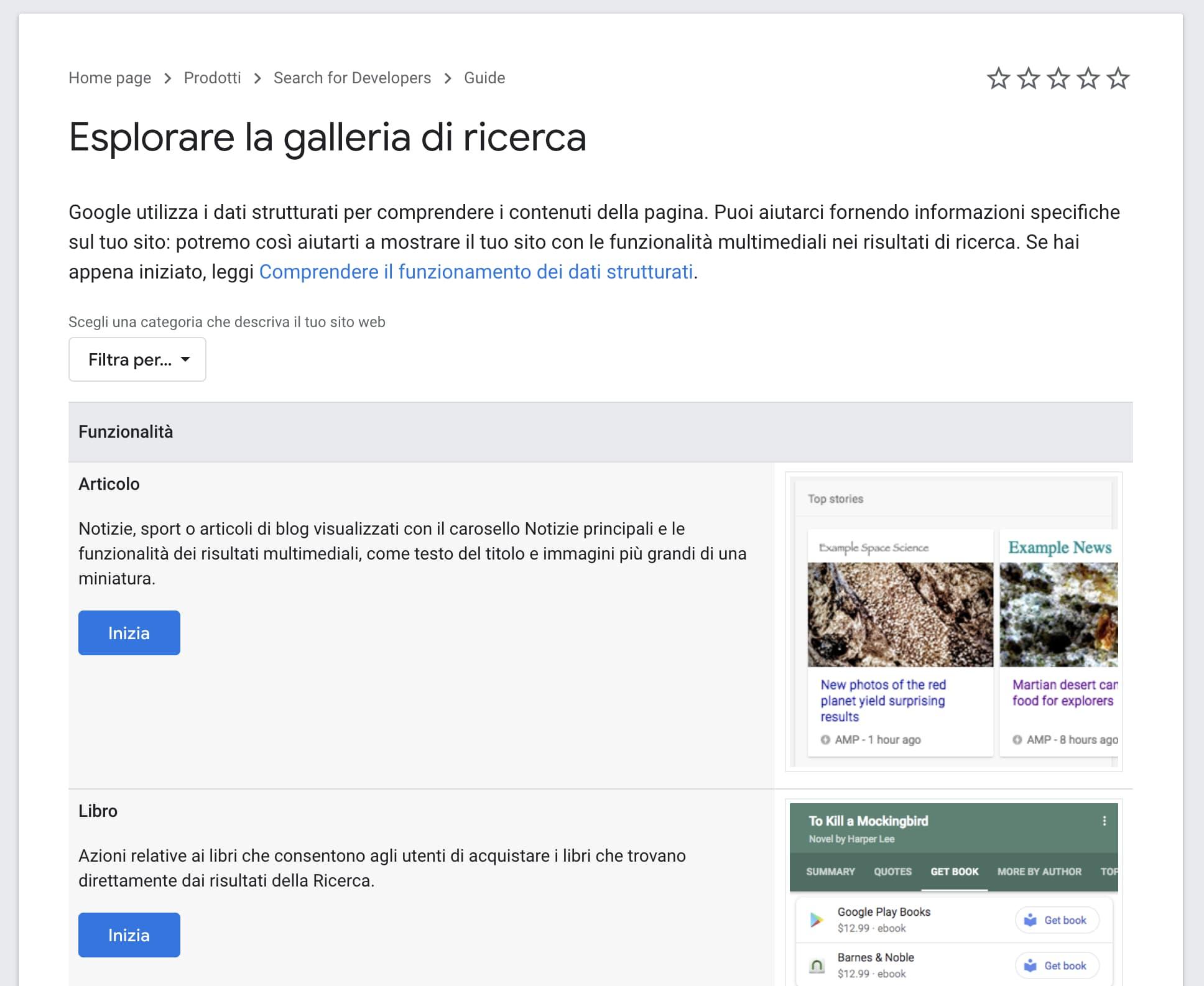 La Galleria di Ricerca di Google
