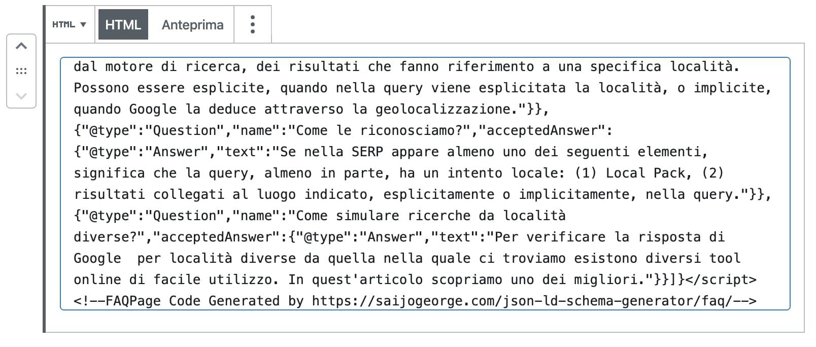 Gutenberg blocco HTML
