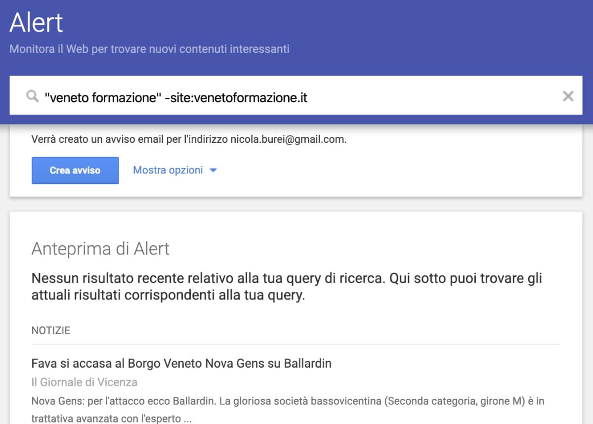 Come monitorare le menzioni su google alert