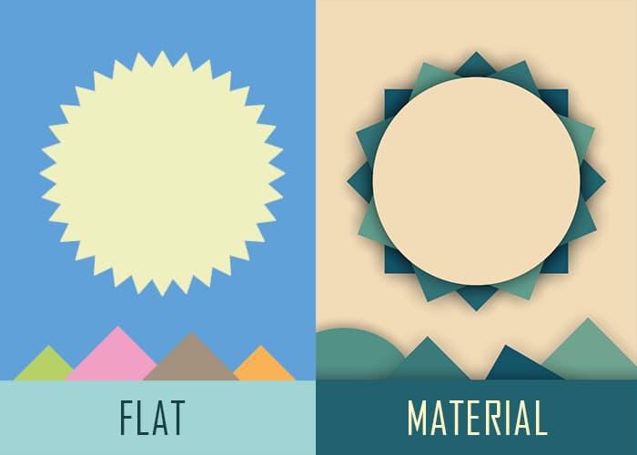 confronto stile flat e material